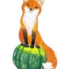 Funny Fox on Green Pumpkin by RagAragno