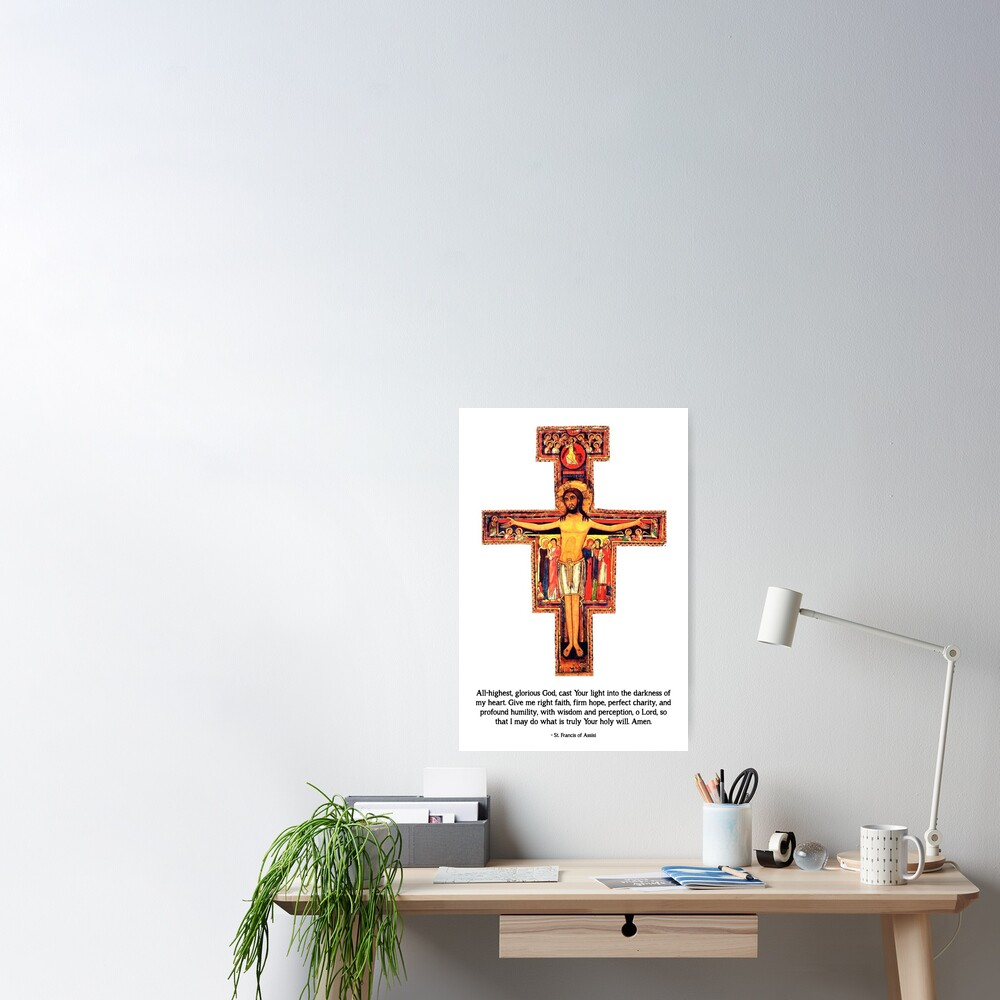 San Damiano Cross with St. Francis Prayer - 2 Poster