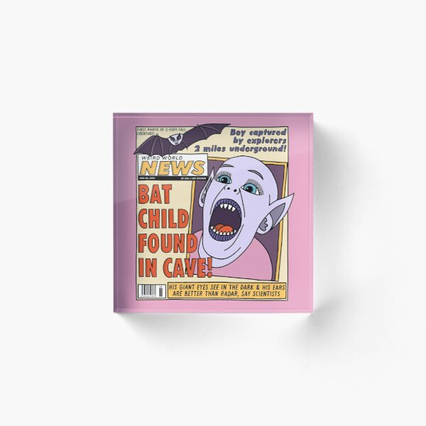 Bat Boy Found in Cave! Acrylic Block