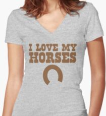 I love my HORSES with lucky horse shoe Women's Fitted V-Neck T-Shirt