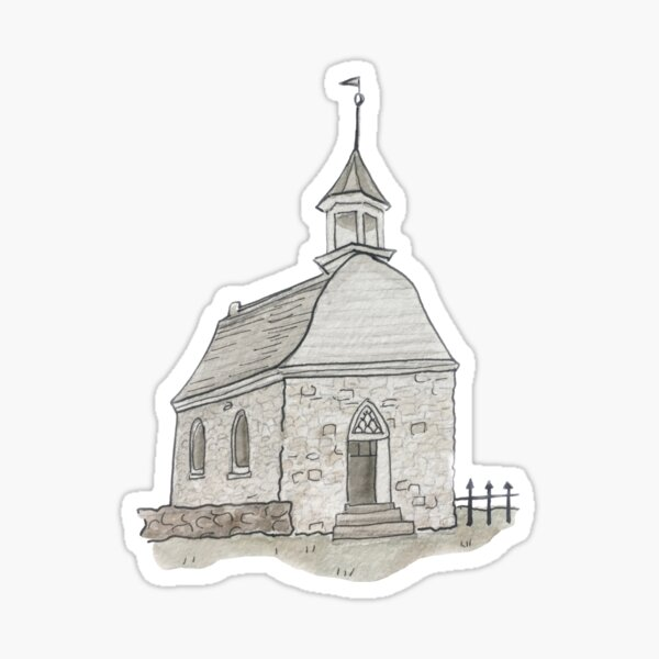Old Dutch Reformed Church Illustration in Watercolor Sticker
