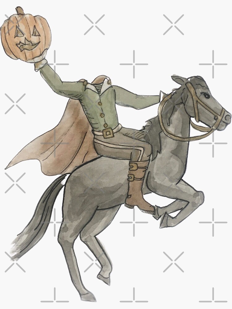 Headless Horseman Illustration in Watercolor by WitchofWhimsy