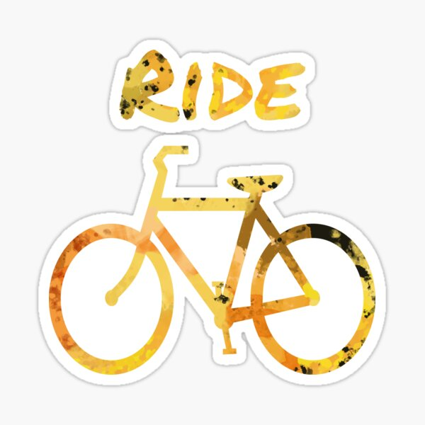 Yellow Bicycle Fitness Graphic Pattern Print Sticker