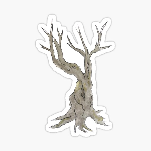 Twisted Tree Illustration in Watercolor Sticker