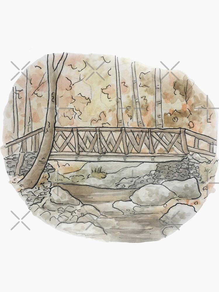 Headless Horseman Bridge Illustration in Watercolor by WitchofWhimsy