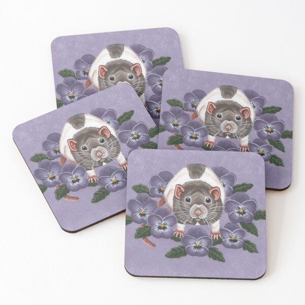 Rat with Flowers Coasters (Set of 4)