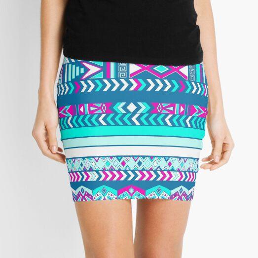 Boho gift ethno stripes tabby pink green mint  Mini Skirt