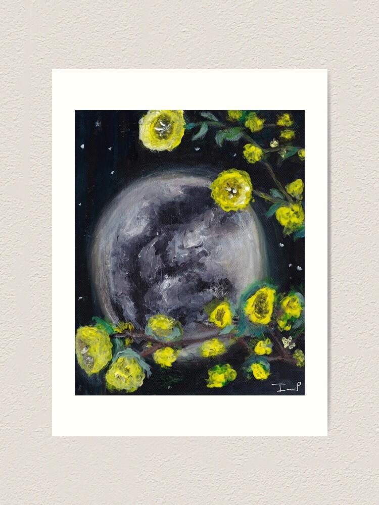 Alternate view of Moon & Flowers Art Print