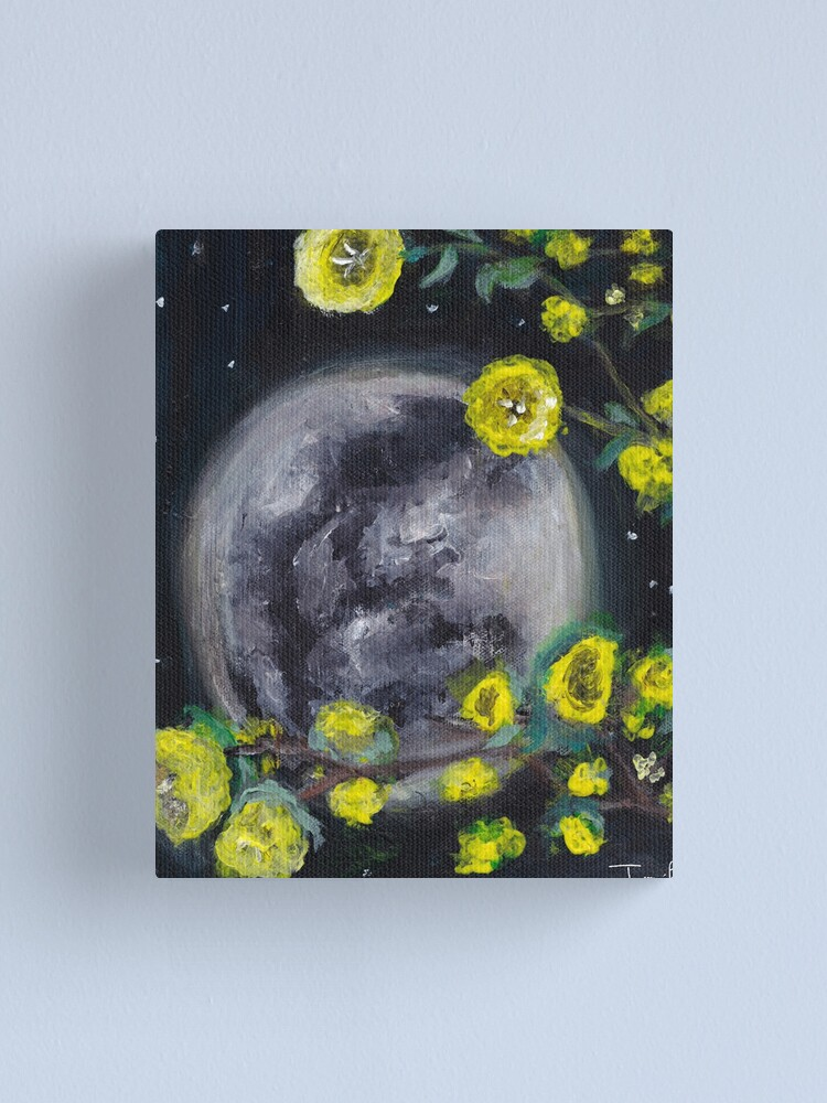 Alternate view of Moon & Flowers Canvas Print