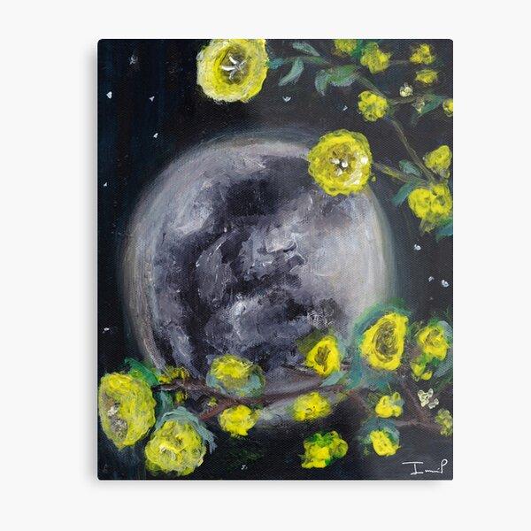 Moon & Flowers Metal Print