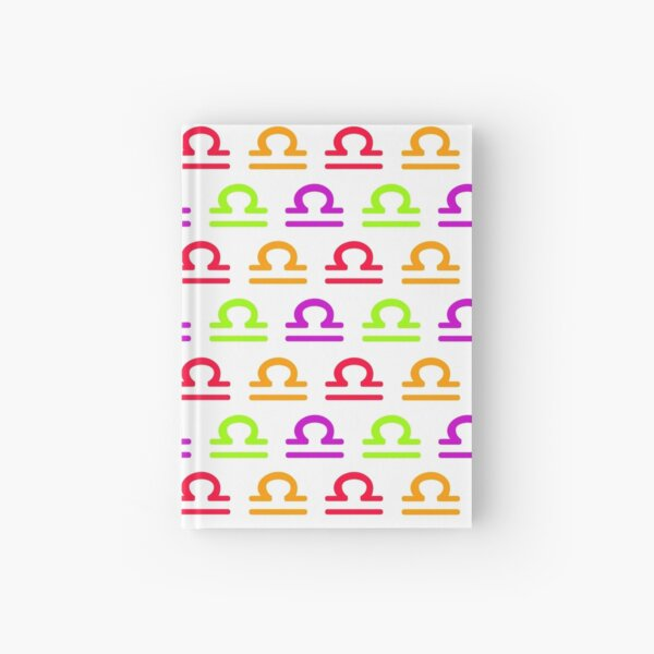 Multicolored Libra sign, astrology zodiac symbol white background Hardcover Journal