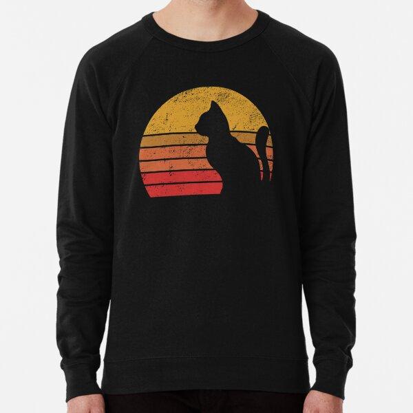 Distressed Retro Sunset Cat  Lightweight Sweatshirt