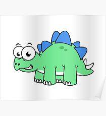 Cute illustration of a Stegosaurus. Poster