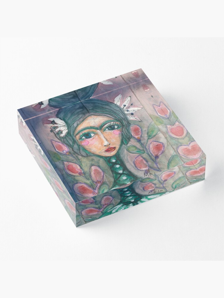 Alternate view of Frida Kahlo w/ Turquoise Unibrow, Floral & Garden, Crismeloearth, Meloearth Acrylic Block