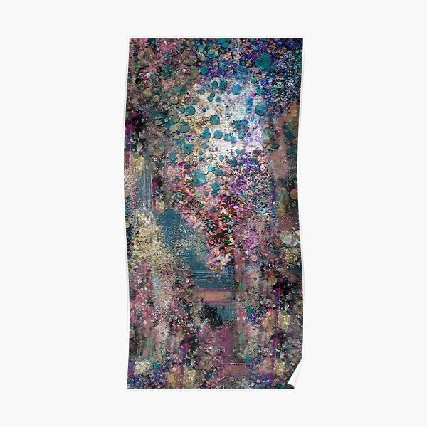 Abstract Painting 091620, Teal Purple and Gold Texture  Poster