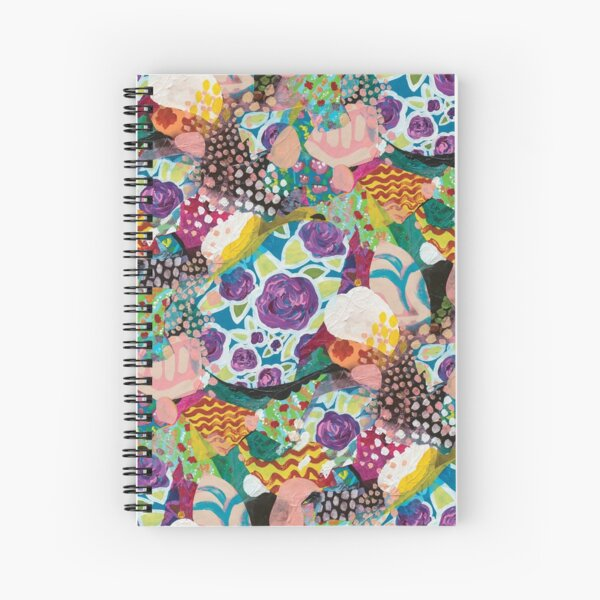 Artsy Brush Strokes Pattern Collage Spiral Notebook
