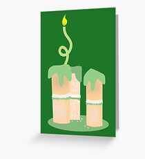 Green birthday cake with candle twirls Greeting Card