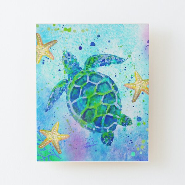 Sea Turtle with Starfish Wood Mounted Print