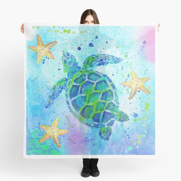 Sea Turtle with Starfish Scarf