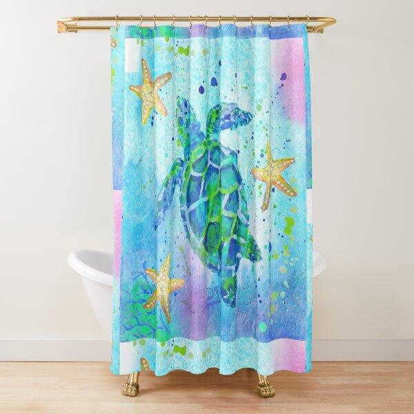 Sea Turtle with Starfish Shower Curtain