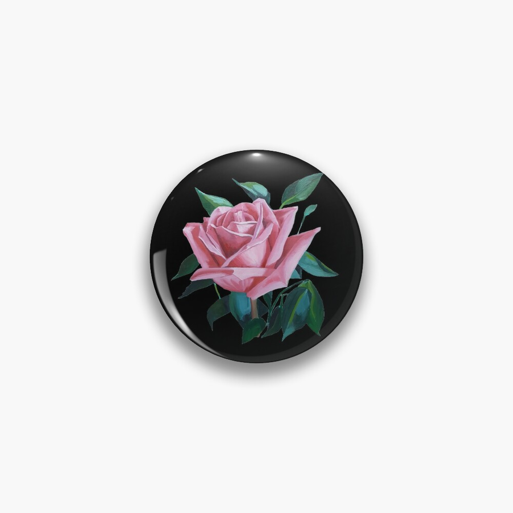 Pink Rose 2 painting (isolated) Pin