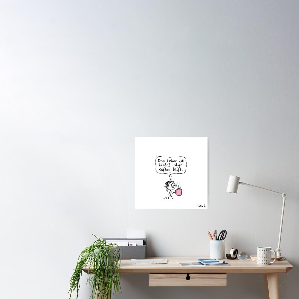 Kaffee-Katzen-Tasse Poster