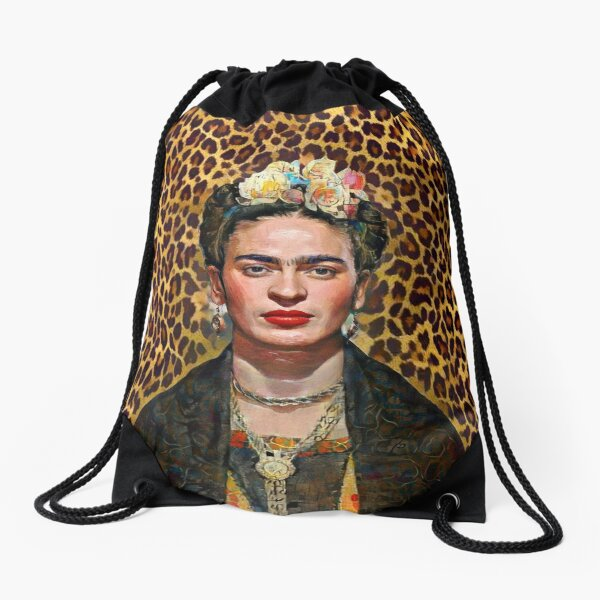 Leopard Frida Drawstring Bag