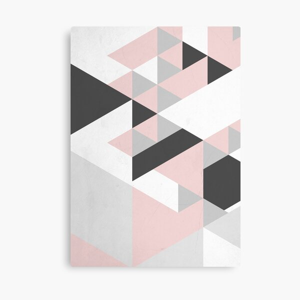 Triangle Geometric Design Graphical Pattern Grey Pink and Black Canvas Print