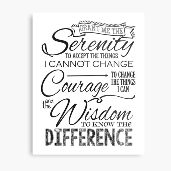 Serenity Prayer - Chalk Typography Metal Print