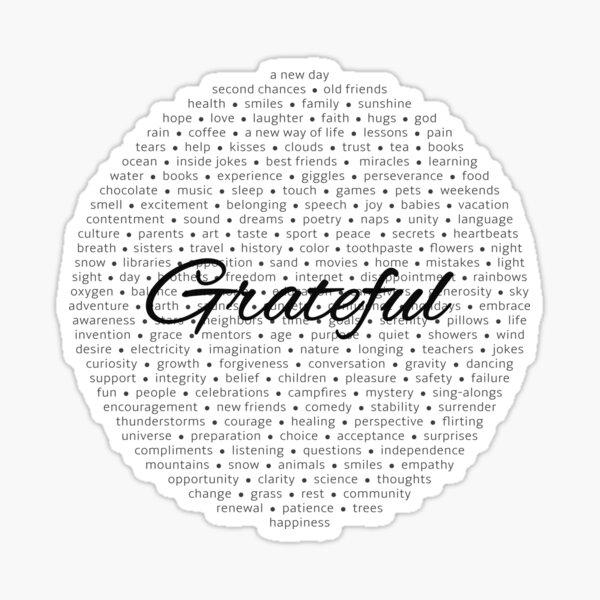 Grateful - Black Sticker