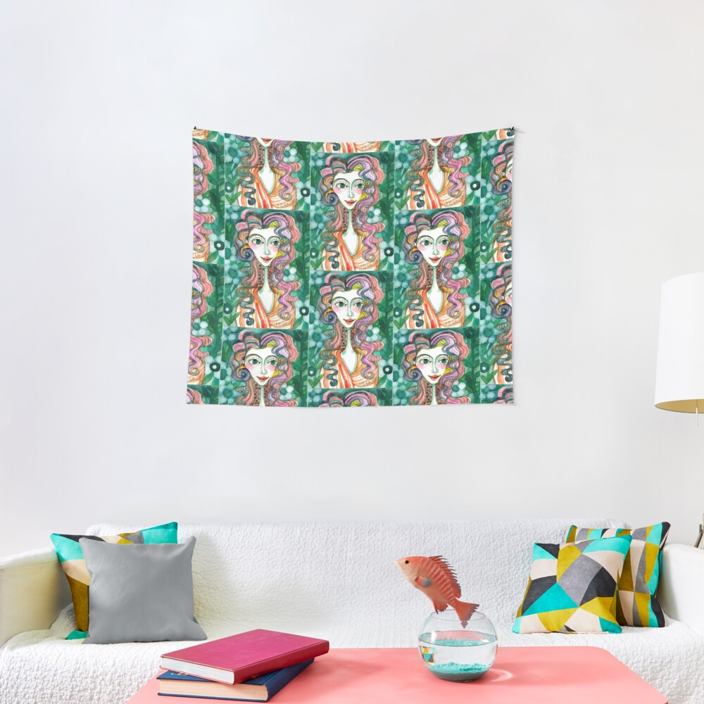 Happy Woman  Tapestry