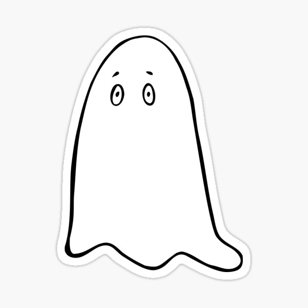 Cute Spooky Ghost in White Blanket Halloween Sticker