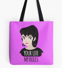 YOUR LIFE MY RULES awesome punk chick with black hair Tote Bag
