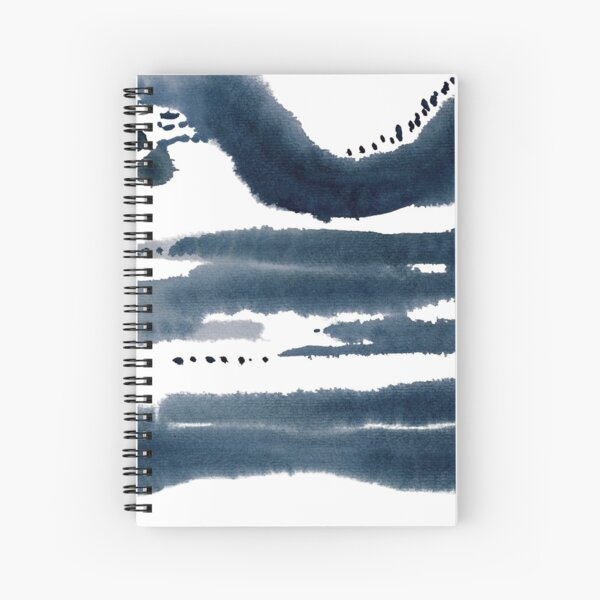blue abstract watercolor Spiral Notebook