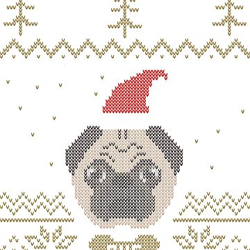 Ugly Christmas Sweater Pug Gold by Compi