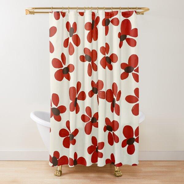 Rote Blume Festliche Mustermalerei von Christie Olstad Duschvorhang
