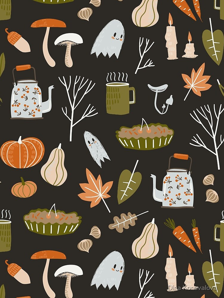 Fall seamless pattern with cozy nature elements.  by Dinkoobraz