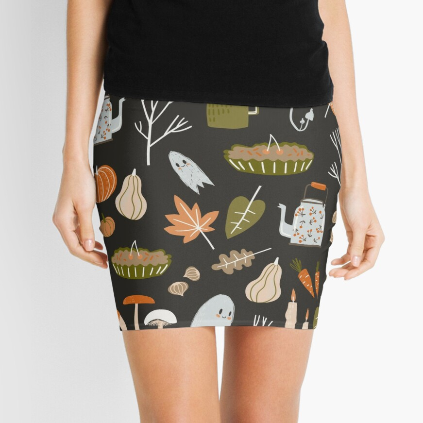 Fall seamless pattern with cozy nature elements.  Mini Skirt