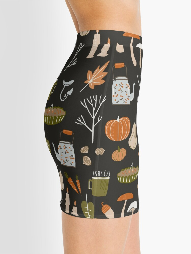 Alternate view of Fall seamless pattern with cozy nature elements.  Mini Skirt