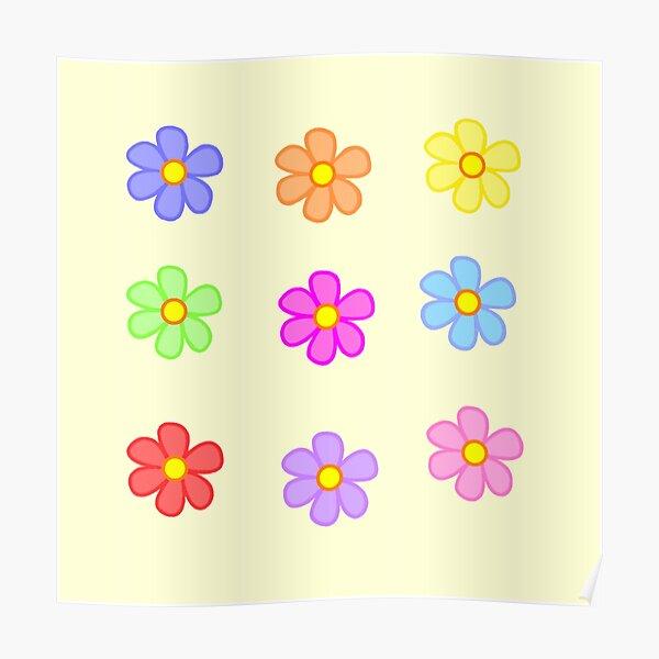 Fleurs inspirées de l'an 2000 / indé Poster