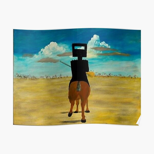 Sidney Nolan - 'Ned Kelly 1946' (1946), enamel on board. Famous painting by the significant Australian artist. Poster
