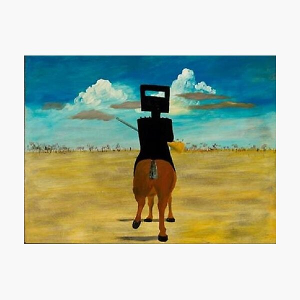 Sidney Nolan - 'Ned Kelly 1946' (1946), enamel on board. Famous painting by the significant Australian artist. Photographic Print