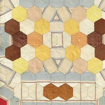 Vintage Silk Hexagon Patchwork by Jackie Wills by jackiewills