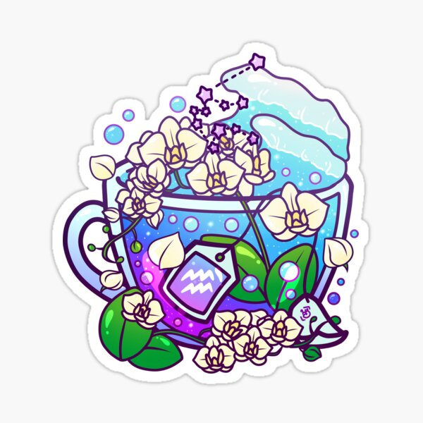 Aquarius Zodiac Teacup Sticker