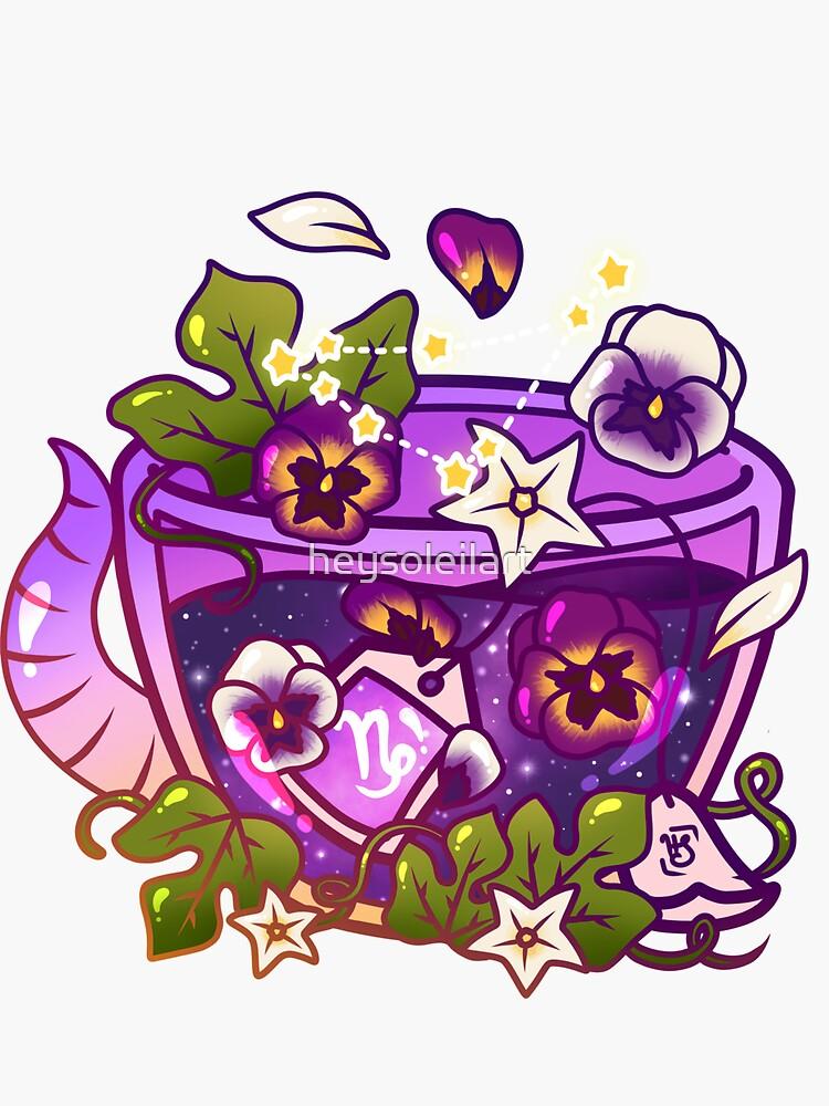 Capricorn Zodiac Teacup by heysoleilart