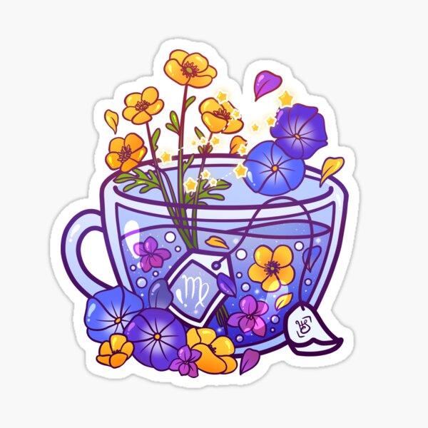 Virgo Zodiac Teacup Sticker