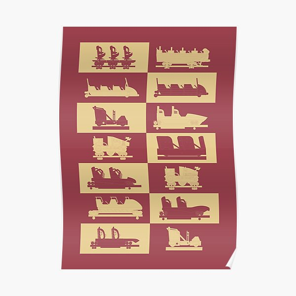 Rollercoaster vehicles fairytale theme park RED Poster