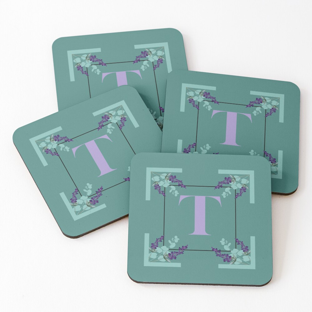 Eucalyptus lavender alphabet - letter T Coasters (Set of 4)