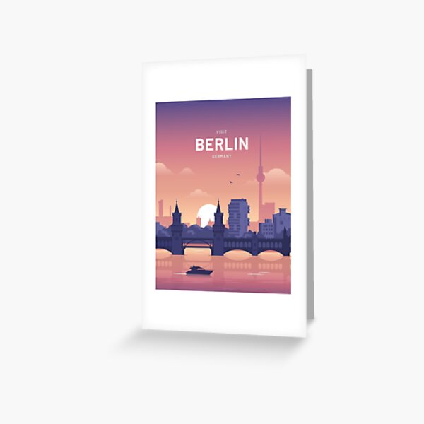 Berlin Germany Vintage style Travel Greeting card A4 Folded Berlin Travel blank card Bellin Germany,Greeting Card A5