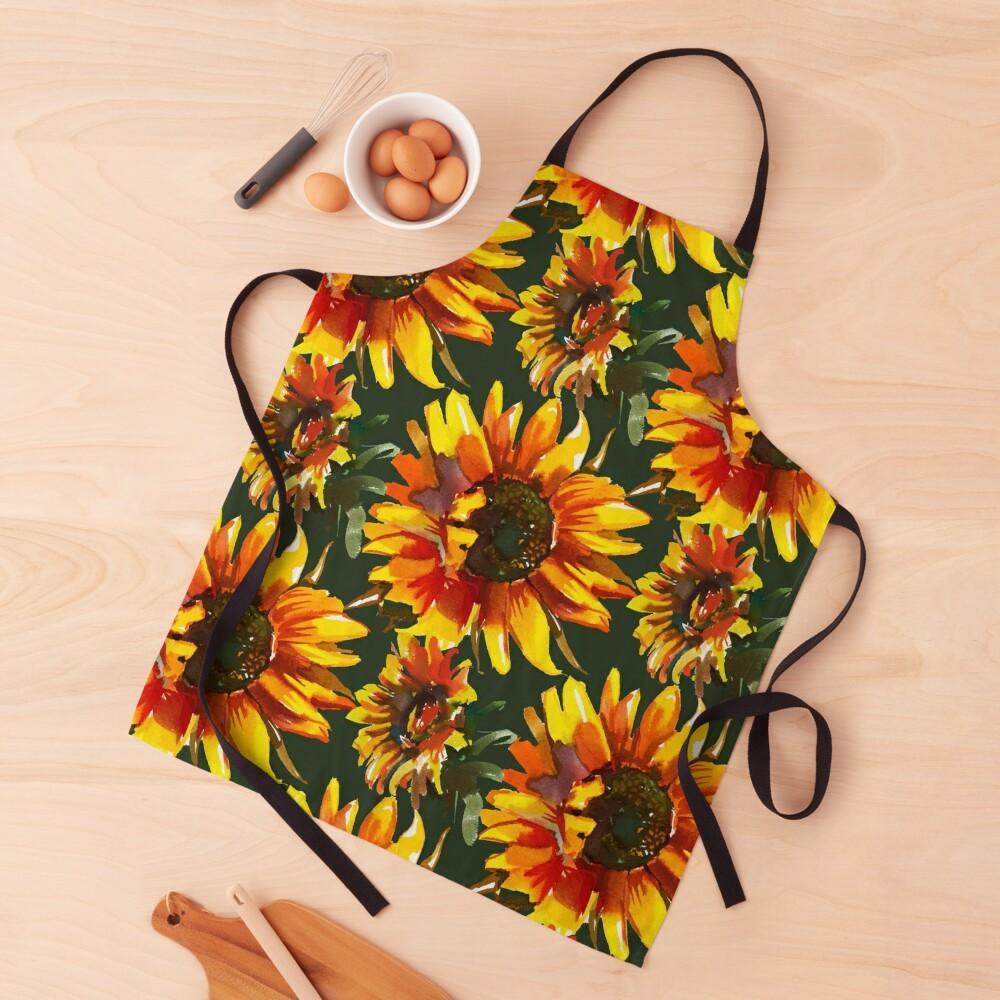 Watercolor Sunflowers  Apron